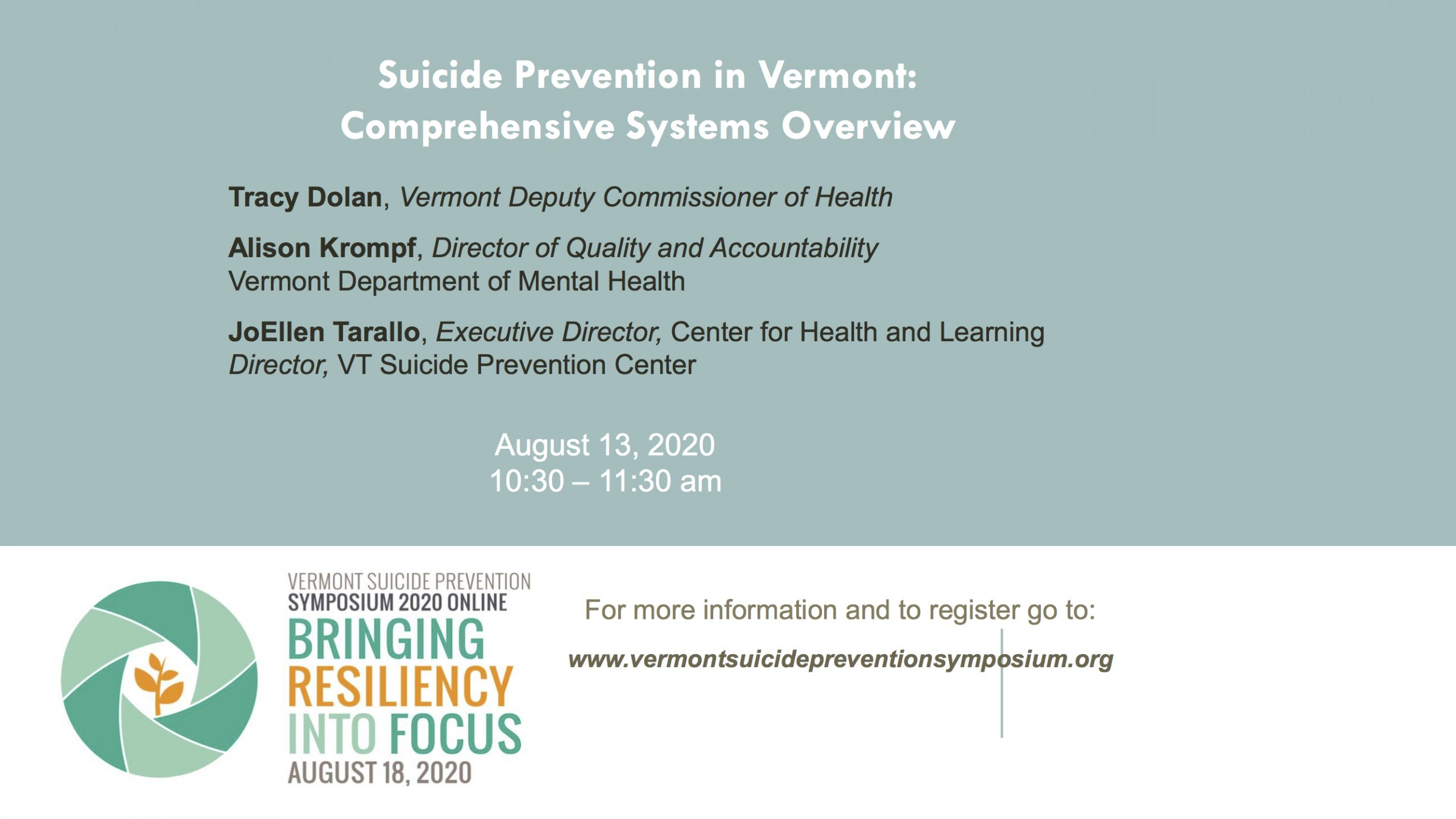 Suicide Prevention in Vermont: Comprehensive Systems Overview