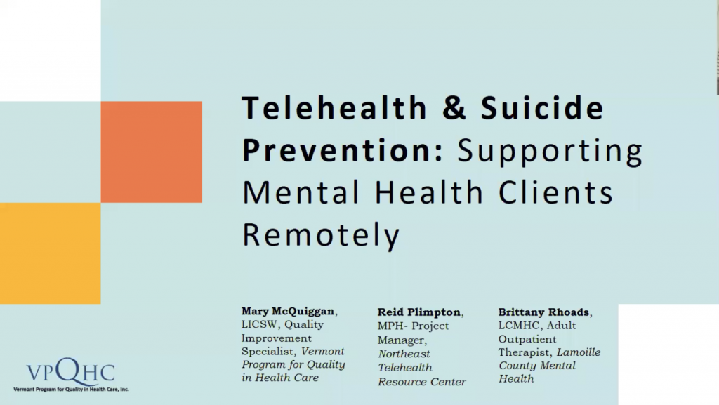 Telehealth and Suicide Prevention- Supporting Mental Health Clients Remotely